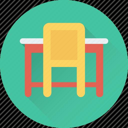 chair, desk, seat, study desk, table icon