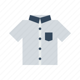 cloth, half, school, sleeve, tshirt, uniform, white icon