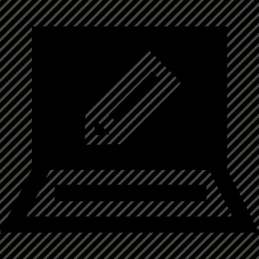 create, laptop, pencil, write icon