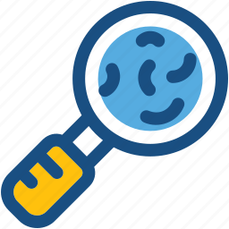 germs, magnifier, magnifying glass, search bacteria, searching germs icon