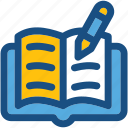 book, education, notes, pen, study icon