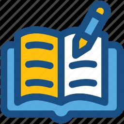 book, education, notes, pen, study icon