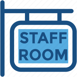 hanging sign, school room, school sign, signboard, staff room icon