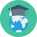 distance learning, education, global education, globe, mortarboard icon