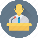 freelancer, lecture, male, presentation, public speaker icon