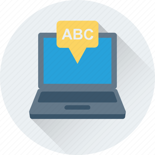 abc, alphabets, education, english letters, laptop icon