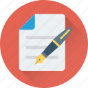 document, pen, sheet, signature, writing icon