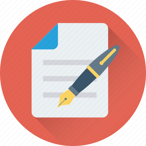 document, pen, sheet, signature, writing icon