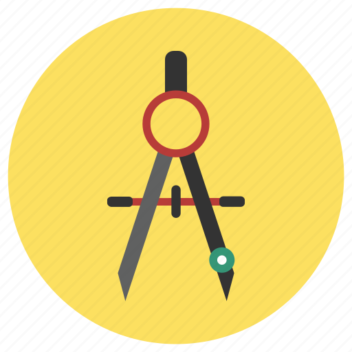 compass, draw, education icon