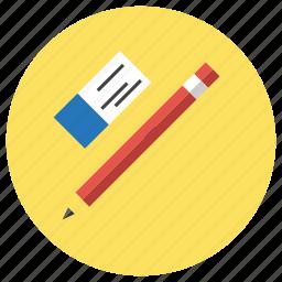 and, education, eraser, pencil icon