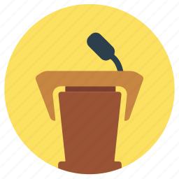 education, podium, speech icon