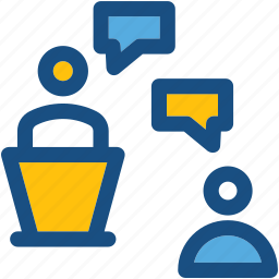 classroom, discussion, speech bubbles, student, teacher icon