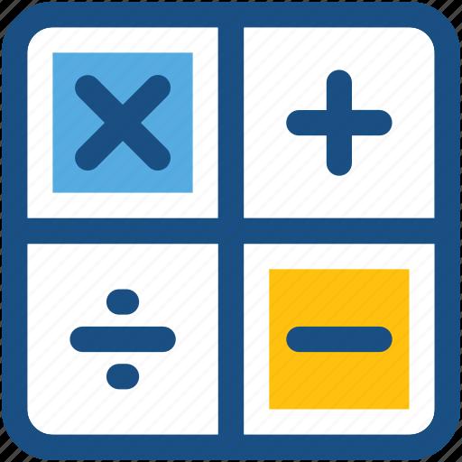 calculation, calculator keys, digital calculator, math symbols, maths icon