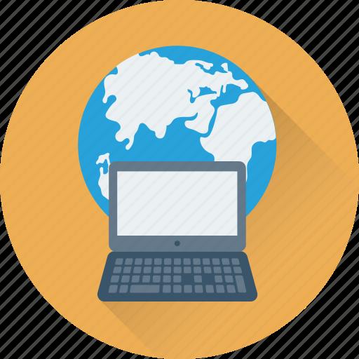 computer, globe, internet, laptop, planet icon