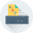 alphabets, english, file, keyboard, typing icon