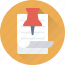 paper, push pin, sheet, tack pin, thumb tack icon