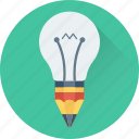 bulb, creativity, light bulb, luminaire, pencil icon