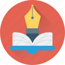 book, nib, open book, pen, study icon