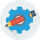 cog, gear, gear wheel, pencil, preferences icon