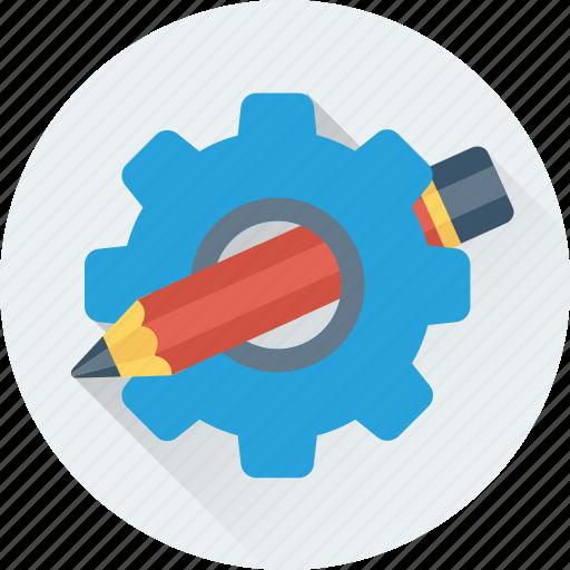 cog, gear, gear wheel, pencil, preferences icon
