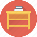 books, desk, study, study desk, study table icon