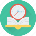 book, clock, learning, schedule, study time icon