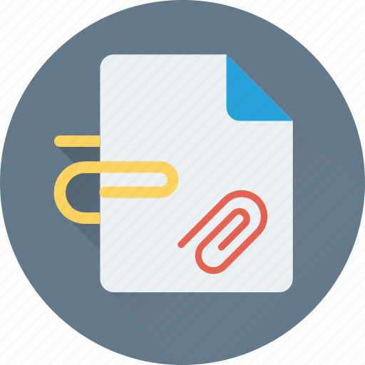 attach, attach paper, attachment, document, paper clip icon