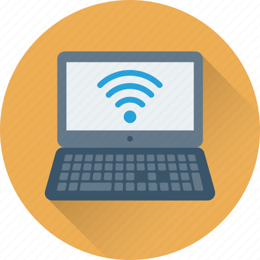connection, internet signals, laptop, wifi, wifi signals icon