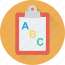 abc, clipboard, early learning, learning, sheet icon