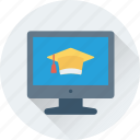 graduate, graduate cap, lcd, led, online study icon