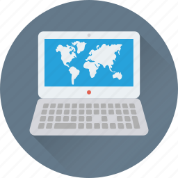 geography, laptop, mac, map, world map icon