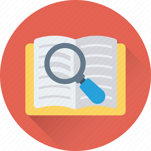 book, find, find book, lesson, magnifier icon