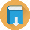 book, down arrow, download, download book icon