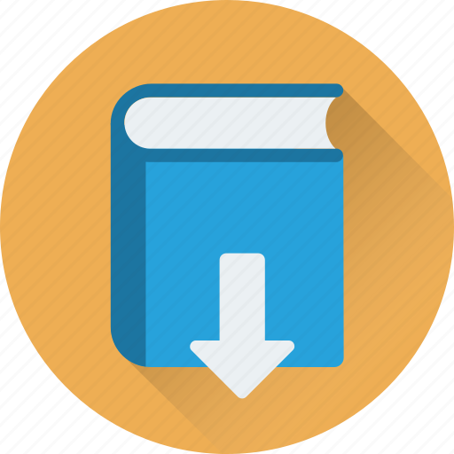book, down arrow, download, download book icon