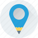 creativity, location, location pin, map pin, pencil icon