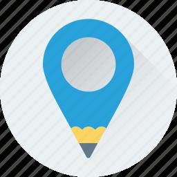 creativity, location, location pin, map pin, pencil icon
