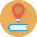 location pin, map pin, pencil, study, study location icon
