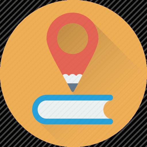 location pin, map pin, pencil, study, study location icon