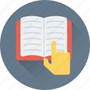 book, education, finger, hand gesture, study icon