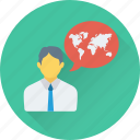 chat bubble, consultant, geography, map, speech bubble icon