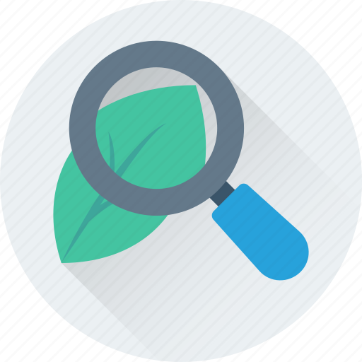 greenery, magnifier, nature, plant, research icon
