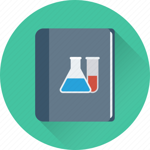 book, conical flask, course book, flask, science book icon