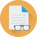 eyeglasses, file, glasses, spectacles, study icon