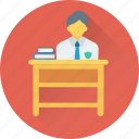 books, classroom, desk, school, student icon