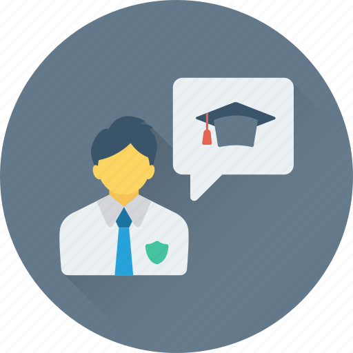 bubble, chat balloon, consultant, graduate, student chat icon
