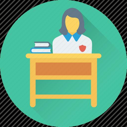 books, classroom, desk, female, student icon