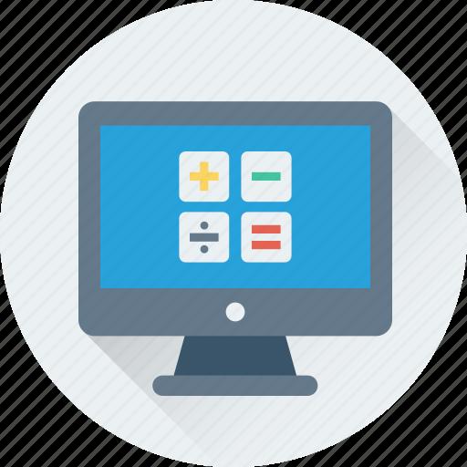 calculation, calculator, digital calculator, lcd, monitor icon