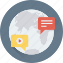 chat, communication, global, globe, speech bubble icon