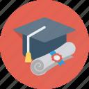 degree, degree cap, graduate, graduate cap, mortarboard icon