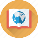 book, encyclopedia, globe, planet, study icon